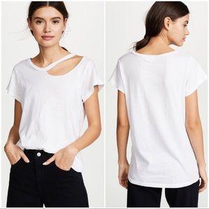 •LNA• White Slub Cotton 'Ai D' Ripped Neckline Tee